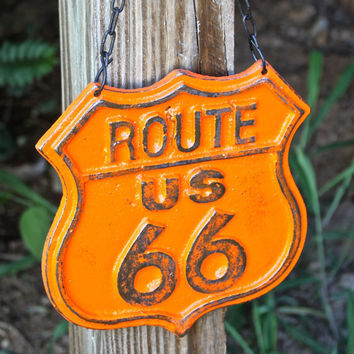 """Orange """"Route 66"""" Cast Iron Hanging Sign by AquaXpressions"""