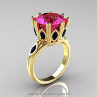 Classic 14K Yellow Gold 5.0 Ct Pink Sapphire Marquise Black Diamond Solitaire Ring R160-14KYGBDPS