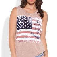 Mineral Wash Tunic Tank Top with American Flag Anchor Screen