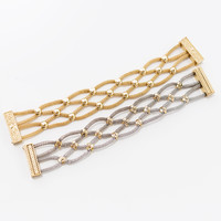 Just The Right Touch Gold And Silver Weaved Chain Bracelets