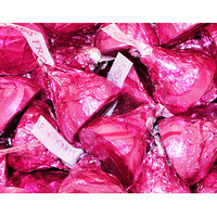 Dark Pink and Silver Foiled Dove Milk Chocolate Hearts: 35-Piece Bag
