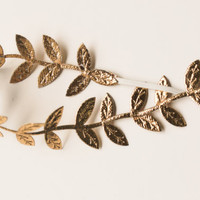 Gold Leaf Headband - Halo Headband - Greek Inspired - Baby Girl - Newborn Photo Prop - Whimsical - Toddler - Gilded Gold Leaves - Goddess