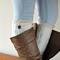 White Knitted Boot cuffs, Lace trim Button boot cuffs