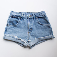 """ALL SIZES Vintage """"ZUES"""" High Waisted Denim Shorts"""