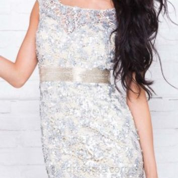 Sequin Mesh Mini Prom Gown by Tony Bowls Shorts