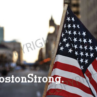 Boston Strong 8 x 10 photo with writing