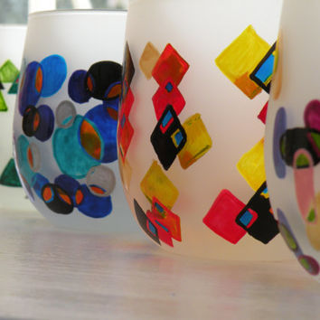 Handpainted Glass Beverage Mugs, Set of 4, Original Painting, Colorful glass painting, Set of Four