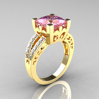 French Vintage 14K Yellow Gold 3.8 Carat Princess Light Pink Sapphire Diamond Solitaire Ring R222-YGDLPS