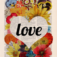 Love flowers - Girl Room Decor, Love Poster, Unique WEDDING Gift idea, 1st First ANNIVERSARY , Gift girlfriend Flower Dictionary art