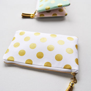 Gold polkadot clutch, golden metallic zipper pouch, white and gold dots, gold leather bag, sparkle makeup bag, coin purse, bridesmaid gifts