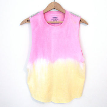 Studded Tank - dip dye pink and yellow