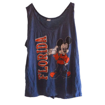 Soft Vintage Mickey Mouse Florida Gators Tank Top 1980's Blue Tank