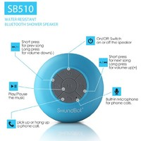 SoundBot® SB510 HD Water Resistant Bluetooth 3.0 Shower Speaker, Handsfree Portable Speakerphone with Built-in Mic, 6hrs of playtime, Control Buttons and Dedicated Suction Cup for Showers, Bathroom, Pool, Boat, Car, Beach, & Outdoor Use, White