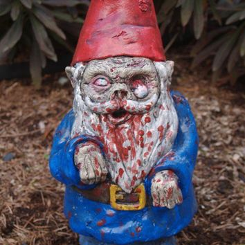 """Zombie Garden Gnome, """"Walking Dead"""" Cast Concrete (expect 3 or 4 WEEKS Before delivery)"""