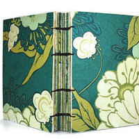 Handmade Aqua and Cream Floral Coptic Bound by Thenibandquill