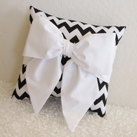 Black and White Chevron Bow Accent-Throw Pillow - Made Upon Order - by pillowsbycindee at etsy