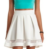 Mesh Cut-Out Pleated Skater Skirt by Charlotte Russe - Ivory