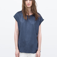 Fringed sleeve faux suede t-shirt