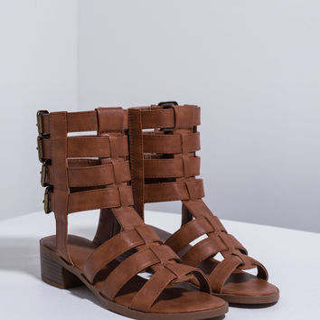 Quad Buckle Caged Sandals