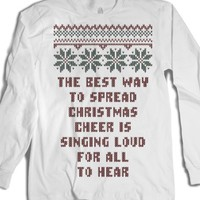 Spread Christmas Cheer Holiday Ugly Sweater T Shirt-White T-Shirt