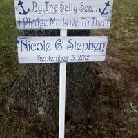 """Wedding Signs, Directional Sign, Destination Beach Wedding """"By the Salty Sea I Pledge My Love to Thee"""" & 2nd sign w/names, date"""