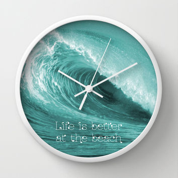 Better at the Beach Wall Clock by Alice Gosling