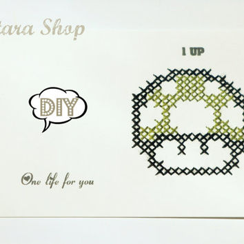 DIY. Cross stitch card. Mushroom 1up Mario Bros wall art with personalized message for framing.