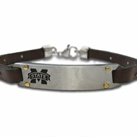 Buy Mississippi State Bulldogs Stainless Steel, Brass and Leather Bracelet