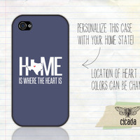 Unique iPhone Case - Home Is Where The Heart Is State Love iPhone 4 Case, iPhone 4s Case, Cases for iPhone 4, iPhone Cover (0087)