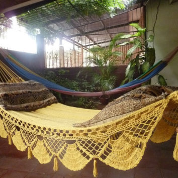 Magic Yellow Magic Hammock Hand Woven Natural Cotton