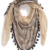 Junior Women's BP. Floral Print Tassel Trim Scarf - Beige