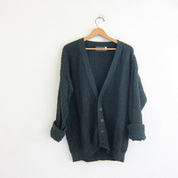 vintage cardigan sweater. dark green preppy button down sweater. slouchy cotton sweater.