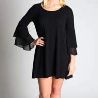 Umgee Black A-Line Bell Sleeve Dress