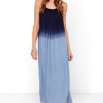 Bright Night Blue Dip-Dye Maxi Dress