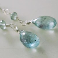 Moss Aquamarine and Sterling Earrings by livjewellery on Etsy