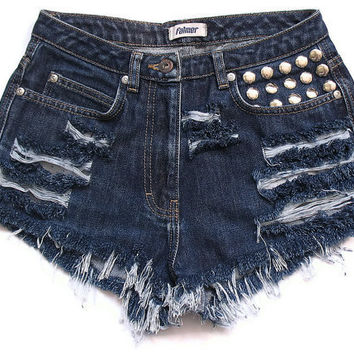High waist jean shorts XS by deathdiscolovesyou on Etsy