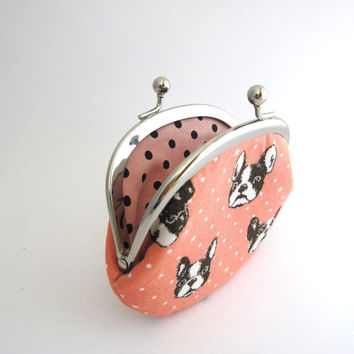 Frame Coin Purse- french bulldog in pink
