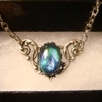 Victorian Style Dichroic Glass Necklace in Antique Silver (1024)