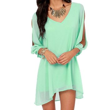 Amoin Women Off Shoulder V-neck A-line Mini Strapless Loose Casual Dress