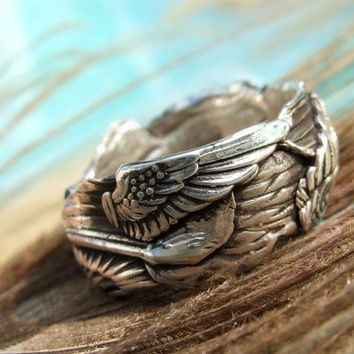 Angel Wings Ring Fine Silver with Handstamped by HappyGoLicky
