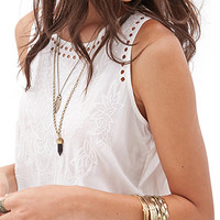 FOREVER 21 Floral Embroidered Sleeveless Top Cream