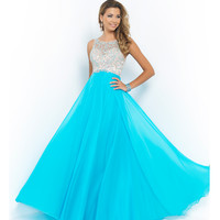 Blush Prom 9917 Pool Blue Beaded Bodice Open Back Chiffon Gown