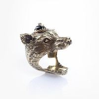 Wolf Clan Ring - Brass and Onyx | Spell & the Gypsy Collective