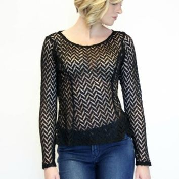 For The Thrill Lace Top in Black | YA Los Angeles