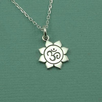 Tiny Om Necklace - sterling silver zen yoga jewelry - buddhist pendant charm - gift