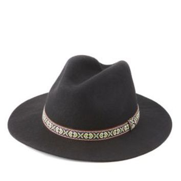 Black Embroidered Ribbon Panama Hat by Charlotte Russe