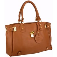 MG Collection Lucca Glamour Padlock Shopper Hobo, Brown, One Size