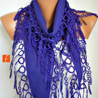 Mother's Day Gift - Purple Scarf - Pashmina Scarf - Cowl Scarf with Lace Edge - fatwoman