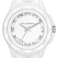 KARL LAGERFELD '7' Beveled Bezel Ceramic Bracelet Watch, 44mm - White