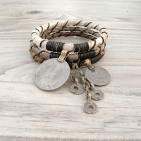 Silk Road Gypsy Bangle Stack - Naryn - 3 Bohemian Tribal Bracelets, Silk Wrapped, Taupe and Tan